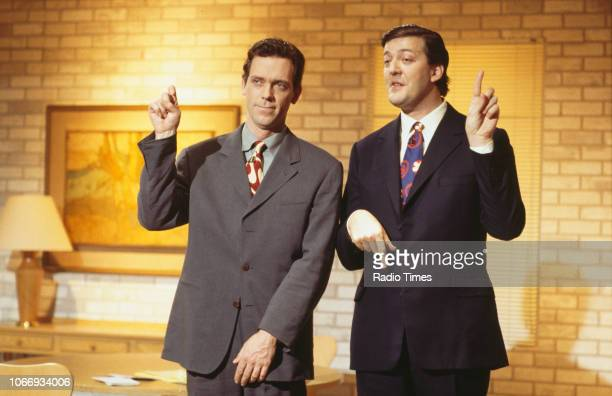 Comic actors Hugh Laurie and Stephen Fry in a sketch from the BBC television series 'A Bit of Fry and Laurie' April 19th 1994