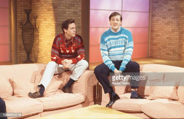 Comic actors Hugh Laurie and Stephen Fry in a sketch from the BBC television series 'A Bit of Fry and Laurie', April 19th 1994.