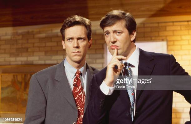 Comic actors Hugh Laurie and Stephen Fry in a sketch from the BBC television series 'A Bit of Fry and Laurie', March 29th 1994.