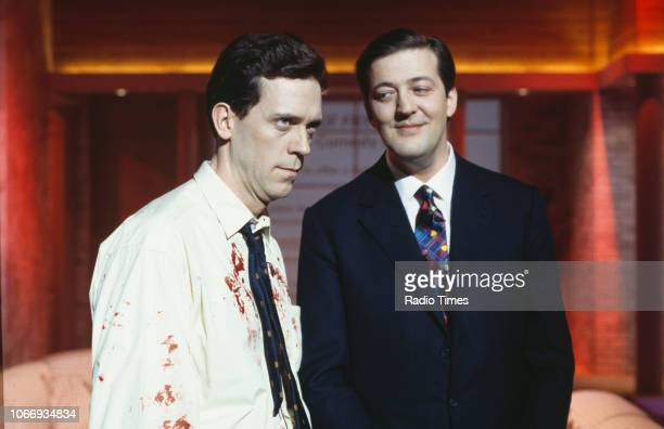Comic actors Hugh Laurie and Stephen Fry in a sketch from the BBC television series 'A Bit of Fry and Laurie', April 15th 1994.