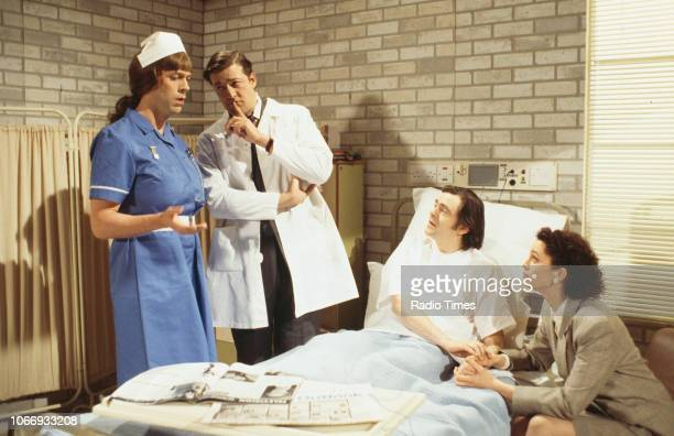Comic actors Hugh Laurie, Stephen Fry, Kevin McNally and Fiona Gillies in a hospital sketch from the BBC television series 'A Bit of Fry and Laurie',...
