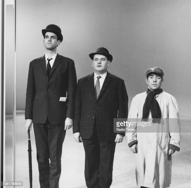 Comic actors John Cleese, Ronnie Barker and Ronnie Corbett in the class sketch from the television series 'The Frost Report', March 12th 1967. First...