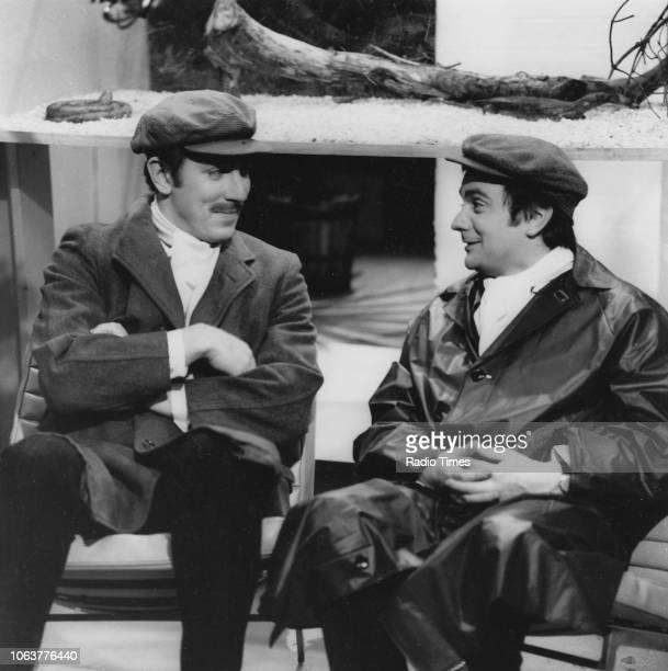 Comic actors Peter Cook and Dudley Moore in a scene from the television show 'Not Only But Also' January 9th 1966