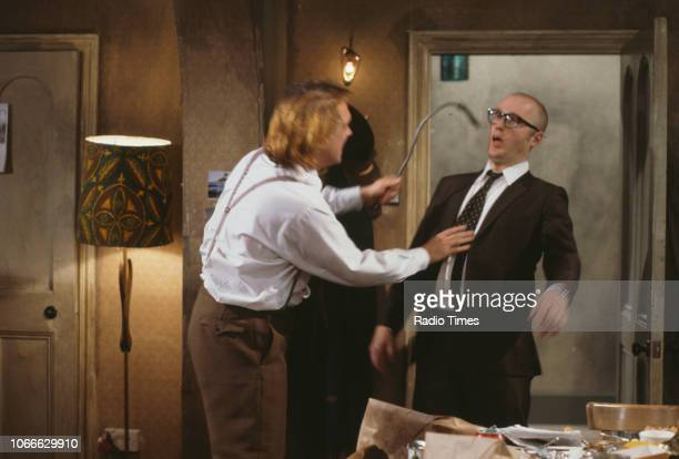 Comic actors Rik Mayall and Adrian Edmondson in a scene from episode 'Apocalypse' of the BBC television sitcom 'Bottom' June 21st 1991