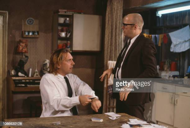 Comic actors Rik Mayall and Adrian Edmondson in a scene from episode 'Gas' of the BBC television sitcom 'Bottom', July 5th 1991.