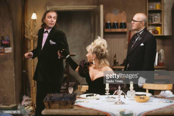 Comic actors Rik Mayall, Helen Lederer and Adrian Edmondson in a scene from episode 'Digger' of the BBC television sitcom 'Bottom', July 17th 1992.