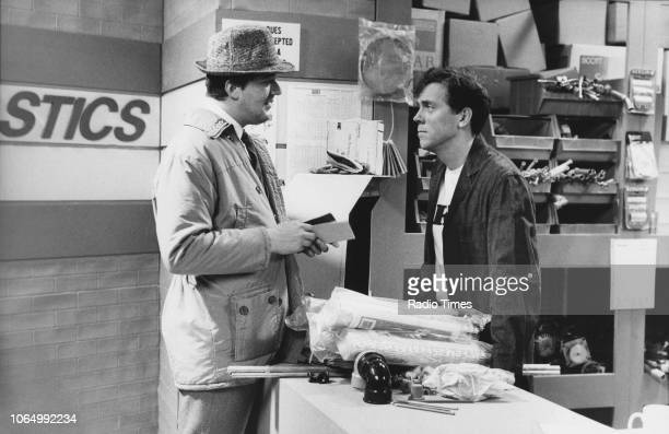 Comic actors Stephen Fry and Hugh Laurie in a scene from the television comedy show 'A Bit of Fry and Laurie' January 14th 1990