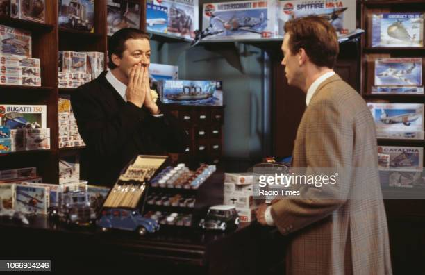 Comic actors Stephen Fry and Hugh Laurie in a sketch from the BBC television series 'A Bit of Fry and Laurie', April 5th 1994.