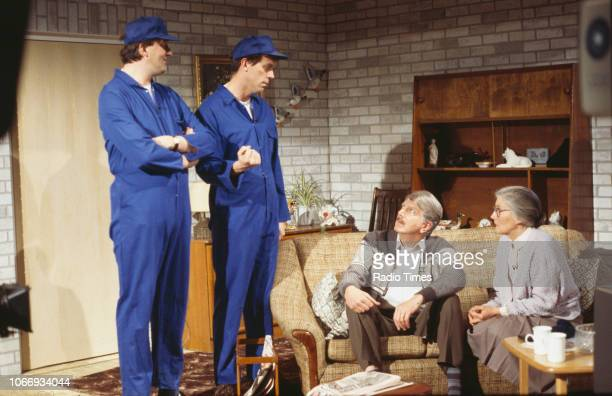 Comic actors Stephen Fry, Hugh Laurie, Stephen Moore and Phyllida Law in a sketch from the BBC television series 'A Bit of Fry and Laurie', April...