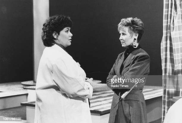 Comic actress Dawn French and singer Lulu in a sketch from the television comedy show 'French and Saunders' January 24th 1988