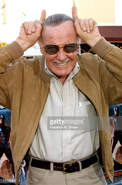 Comic book designer Stan Lee attends the film premiere of Daredevil at the Mann Village Theater on February 9 2003 in Los Angeles California The film...