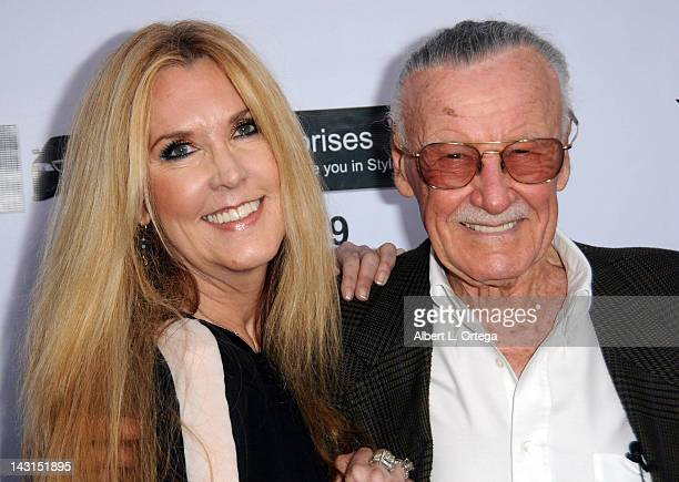 """Comic book Icon Stan Lee and daughter JC Lee arrive for the Premiere Of """"With Great Power: The Stan Lee Story"""" held at iPic Theaters on April 19,..."""