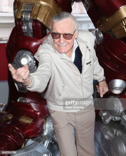 Comic book icon Stan Lee does his Spider-Man impersonation during the unveiling of Marvel's Hulkbuster armor wax figure at Madame Tussauds Las Vegas...