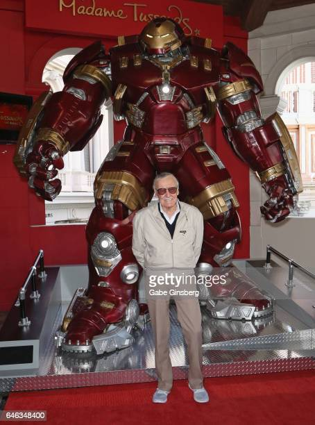 Comic book icon Stan Lee unveils Marvel's Hulkbuster armor wax figure at Madame Tussauds Las Vegas at The Venetian Las Vegas on February 28 2017 in...
