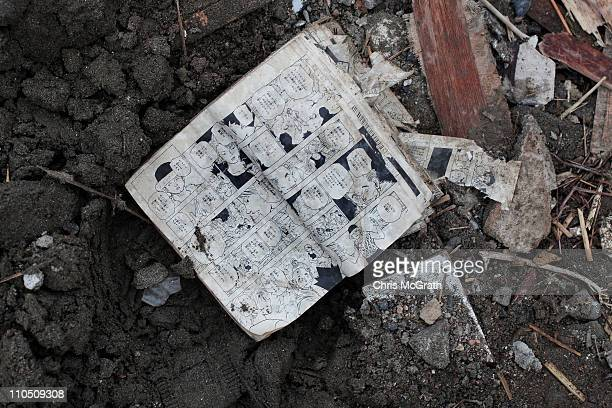 A comic book is seen amongst the rubble on March 20 2011 in Rikuzentakata Japan The 90 magnitude strong earthquake struck offshore on March 11 at...