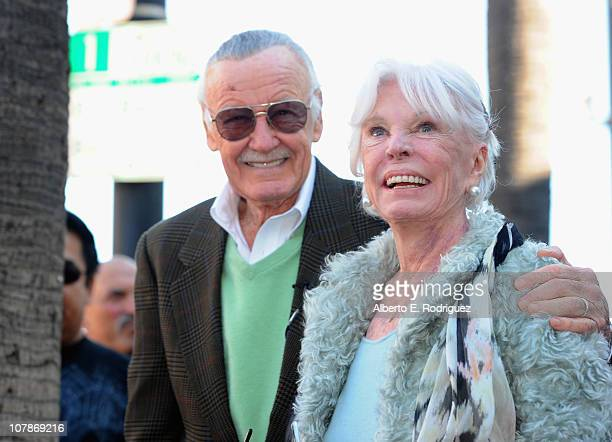 Comic book legend Stan Lee and wife Joan Lee attend a ceremony honoring Stan Lee with the 2428th star on the Hollywood Walk of Fame on January 4 2011...