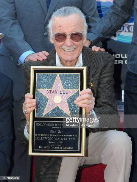 Comic book legend Stan Lee attends a ceremony honoring him with the 2428th star on the Hollywood Walk of Fame on January 4 2011 in Hollywood...