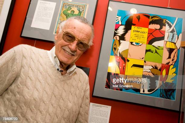 Comic book legend Stan Lee poses at the opening reception for ''Stan Lee A Retrospective'' presented by the Museum of Comic and Cartoon Art on...