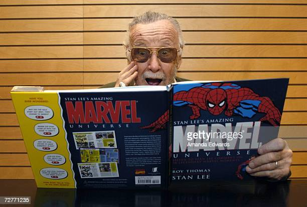 Comic book legend Stan Lee poses before signing copies of Amazing Marvel Universe at Barnes Noble on December 7 2006 in Santa Monica California