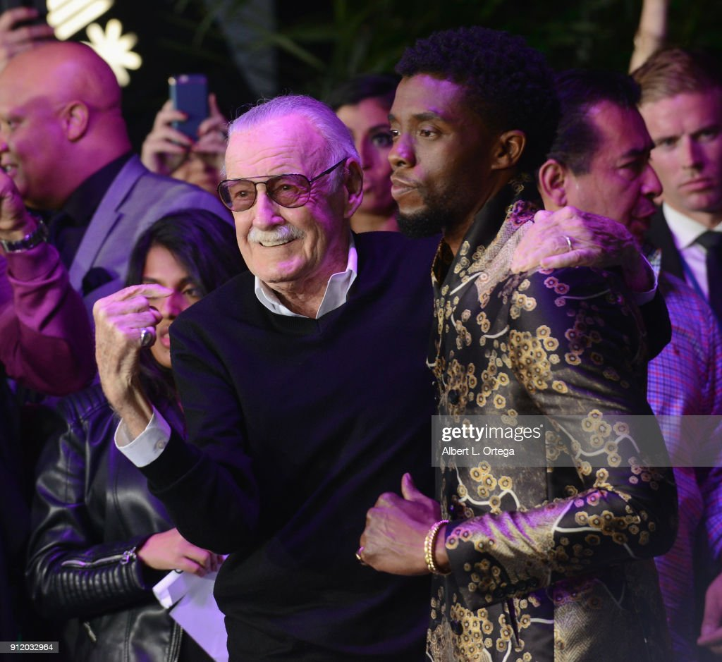 Comic Book legend Stan Lee poses with actor Chadwick Boseman on the purple carpet for the premiere of Disney and Marvel's 'Black Panther' held at the Dolby Theatre on January 29, 2018 in Hollywood, California.