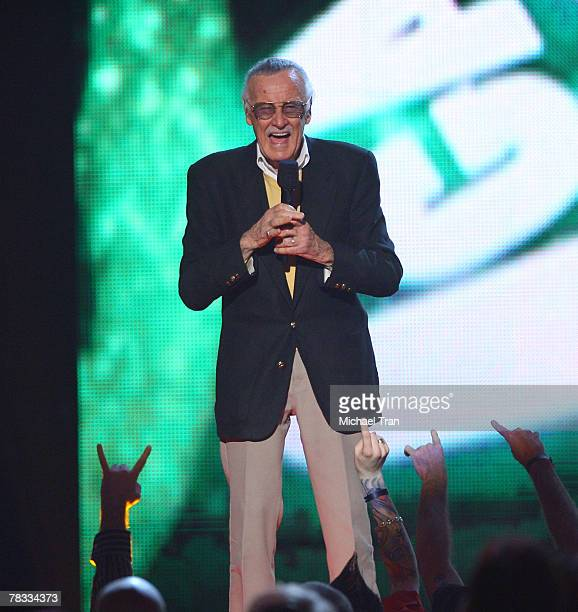 Comic book legend Stan Lee speaks at Spike TV's 2007 'Video Game Awards' at the Mandalay Bay Events Center on December 7 2007 in Las Vegas Nevada