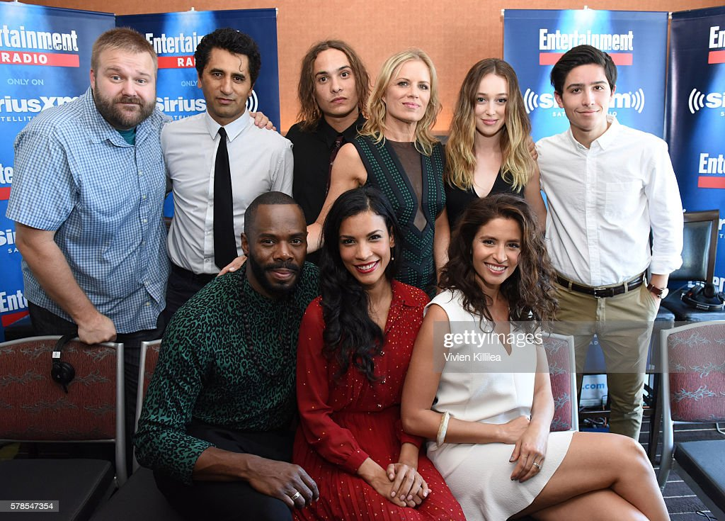 Comic book writer Robert Kirkman, actors Cliff Curtis and Frank Dillane, actresses Kim Dickens and Alycia Debnam-Carey, actors Lorenzo James Henrie and Colman Domingo and actresses Mercedes Mason and Danay Garcia attend SiriusXM's Entertainment Weekly Radio Channel Broadcasts From Comic-Con 2016 at Hard Rock Hotel San Diego on July 21, 2016 in San Diego, California.