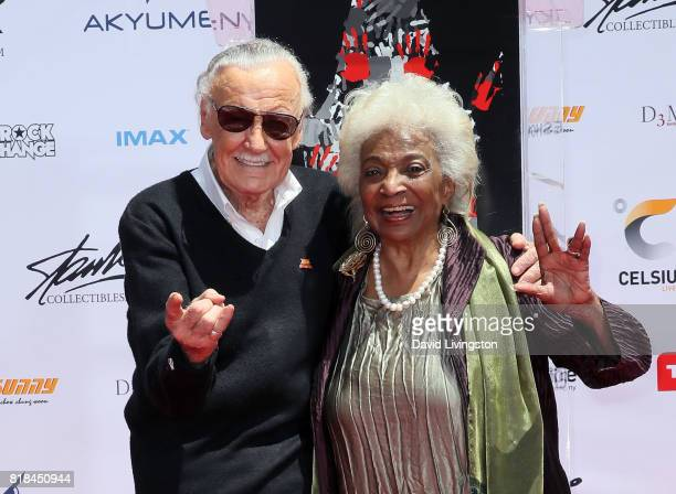 Comic book writer Stan Lee and actress Nichelle Nichols attend the Stan Lee Hand and Footprint Ceremony at TCL Chinese Theatre IMAX on July 18, 2017...