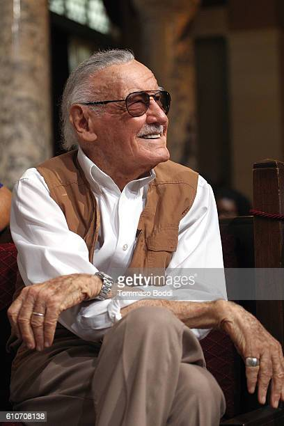 Comic Book Writer Stan Lee attends the Los Angeles City Hall commemorates Friday October 28 as Stan Lee Day at Los Angeles City Hall on September 27...