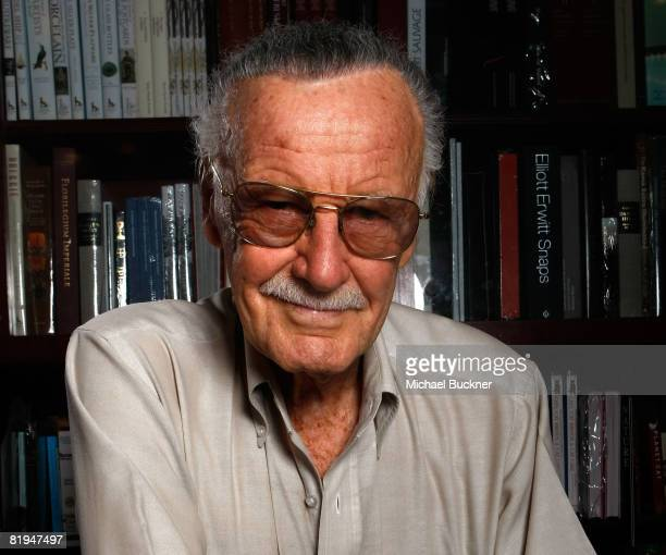 Comic book writer Stan Lee poses for a portrait to promote his new book 'Election Daze What are they Really Saying' at Book Soup on July 15 2008 in...