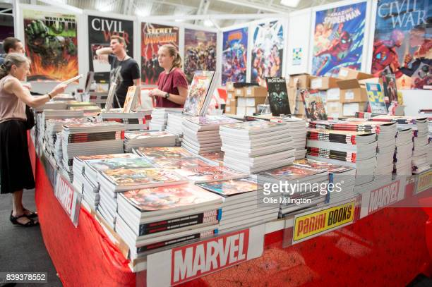 Comic Books and Graphic Novels for sale during Day 1 of the London Super Comic Con at Business Design Centre on August 25, 2017 in London, England.