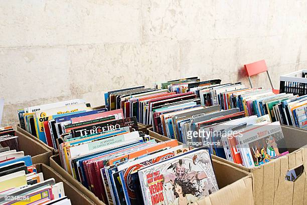 Comic books on market stall