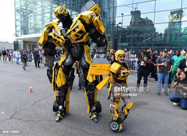 Comic character Bumblebee from the Transformers franchise arrives for the 3rd day of the 2017 New York Comic Con at the Jacob Javits Center on...