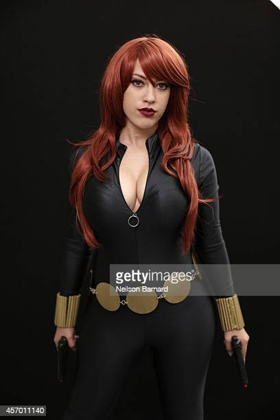 Comic Con attendee Alissa Espinell poses as Black Widow during the 2014 New York Comic Con at Jacob Javitz Center on October 10 2014 in New York City