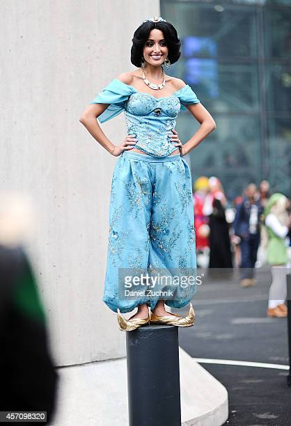 Comic Con attendee poses as Jasmine from Aladdin during the 2014 New York Comic Con at Jacob Javitz Center on October 11 2014 in New York City
