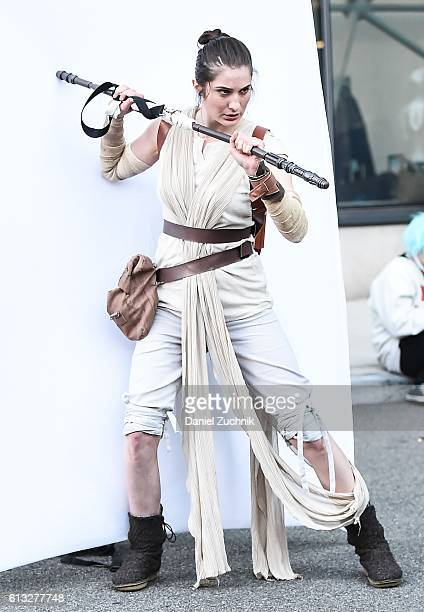 Comic Con attendee poses as Rey from The Force Awakens during the 2016 New York Comic Con Day 2 on October 7 2016 in New York City