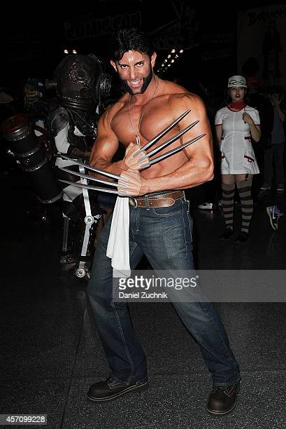 Comic Con attendee poses as Wolverine during the 2014 New York Comic Con at Jacob Javitz Center on October 11 2014 in New York City