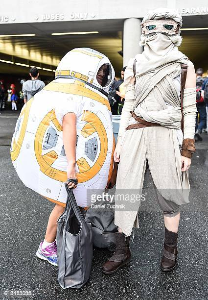 Comic Con attendees pose as characters from The Force Awakens during the 2016 New York Comic Con Day 3 on October 8 2016 in New York City