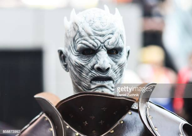 Comic Con cosplayer dressed as the Night King from 'Game of Thrones' poses during the 2017 New York Comic Con Day 3 on October 7 2017 in New York City