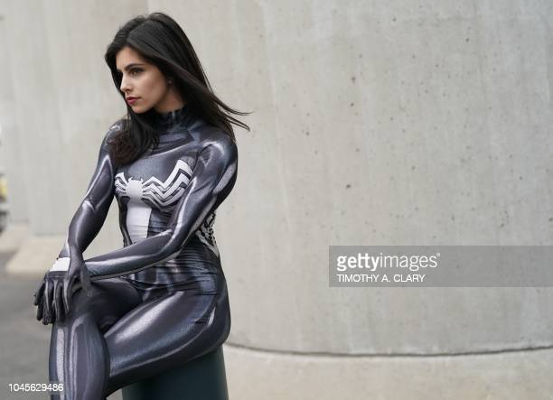 Comic Con fans in costume arrive for the 1st day of the 2018 New York ComicCon at the Jacob Javits Center on October 4 2018 The fourday event which...