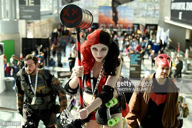 Comic Con fans in costume arrive for the 2nd day of the 2016 New York Comic Con at the Jacob Javits Center on October 7 2016 The fourday event which...