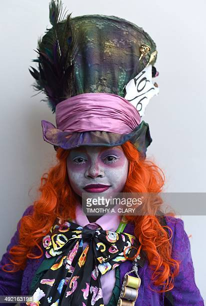 Comic Con fans in costume arrive for the 3rd day of the 2015 New York Comic Con at the Jacob Javits Center on October 10 2015 The fourday event which...
