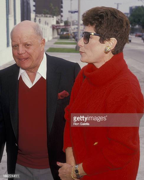 Comic Don Rickles and wife Barbara Sklar attend Pierre Cossette Super Bowl Party on January 31 1988 at Chasen's Restaurant in Beverly Hills California