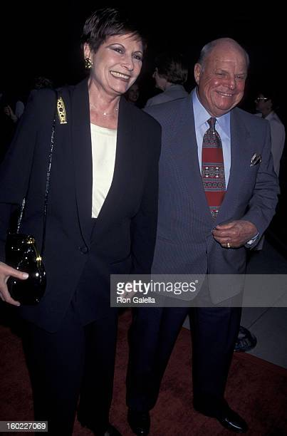 Comic Don Rickles and wife Barbara Sklar attend the premiere of 'Last Dance' on April 24 1996 at the Academy Theater in Beverly Hills California