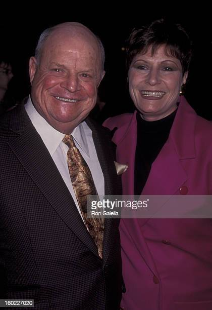 Comic Don Rickles and wife Barbara Sklar attend the world premiere of 'Heat' on December 6 1995 at Warner Brothers Studios in Burbank California