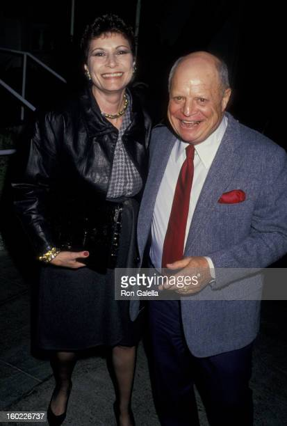 Comic Don Rickles and wife Barbara Sklar sighted on February 19 1988 at Spago Restaurant in West Hollywood California