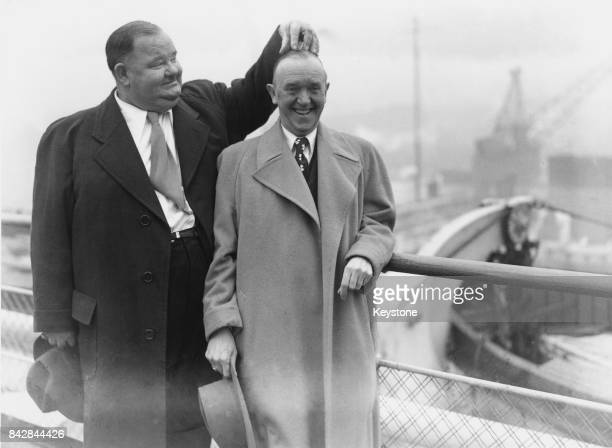 Comic duo Oliver Hardy and Stan Laurel arrive at Southampton on board the liner 'Queen Elizabeth' 10th February 1947