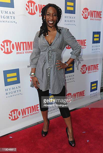 """Comic Gloria Bigelow arrives to the premiere of Showtime's """"The Real L Word"""" on June 1, 2011 in West Hollywood, California."""