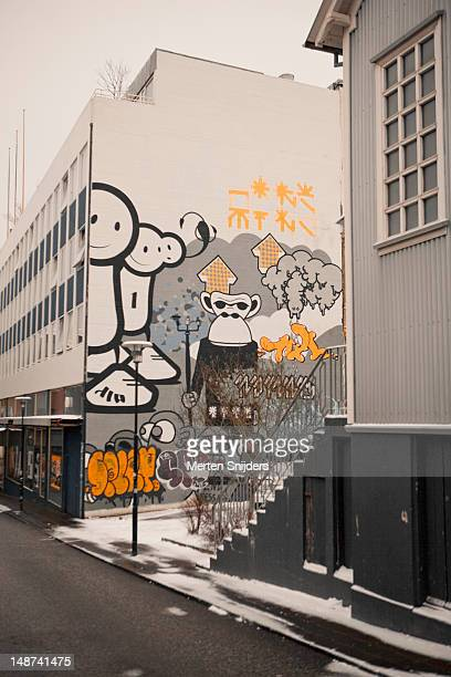 comic grafitti and paintings on shop wall along laugavegur. - merten snijders stock pictures, royalty-free photos & images
