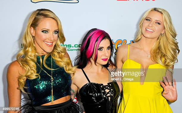 Comic Kate Quigley with adult film actresses Joanna Angel and Anikka Albrite at the 2016 AVN Awards Nomination Party held at Avalon on November 19...