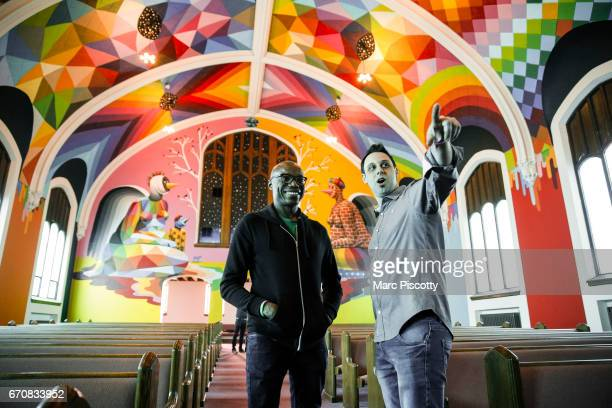 Comic Kyle Grooms of Perth Amboy New Jersey laughs as church organizer Steve Berke of Denver Colorado points out the stage setup at the opening of...